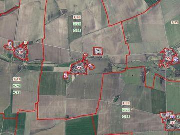Ansicht von Bodenrichtwerten in BORIS-TH mit Orthophoto als Hintergrund